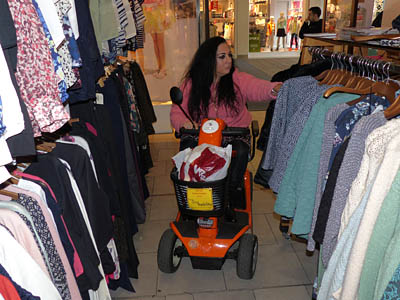 Shopping by scooter.
